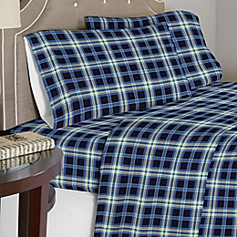 Pointehaven 175 GSM Ashby Plaid Flannel Sheet Set in Blue