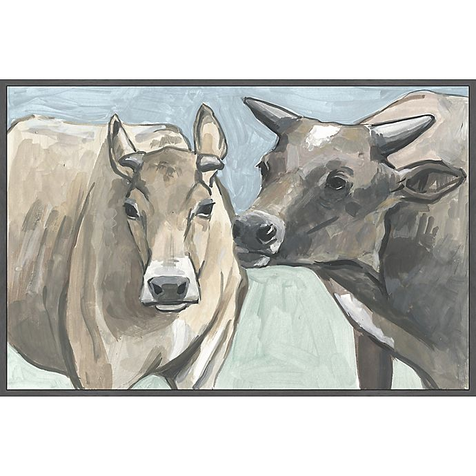 Alternate image 1 for Marmont Hill Vache Romance 24-Inch x 16-Inc Canvas Wall Art with Floater Frame
