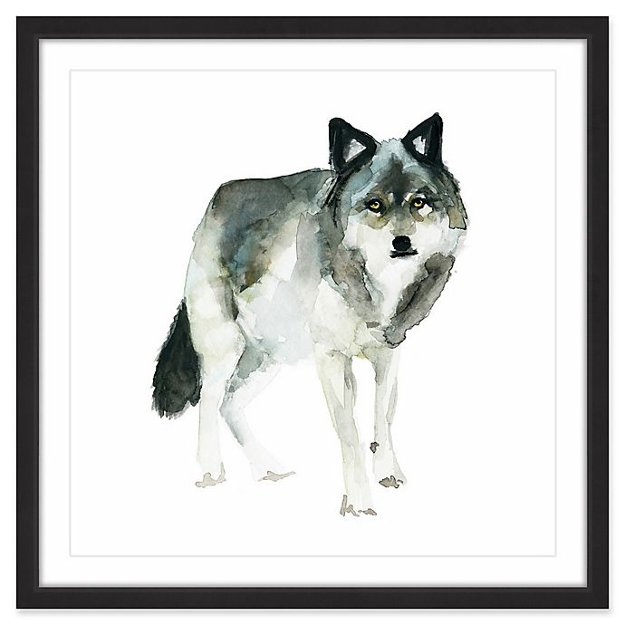 Alternate image 1 for Marmont Hill Wolf Stance 12-Inch Square Framed Wall Art