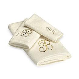 Avanti Premier Gold Script Monogram Bath Towel in Ivory