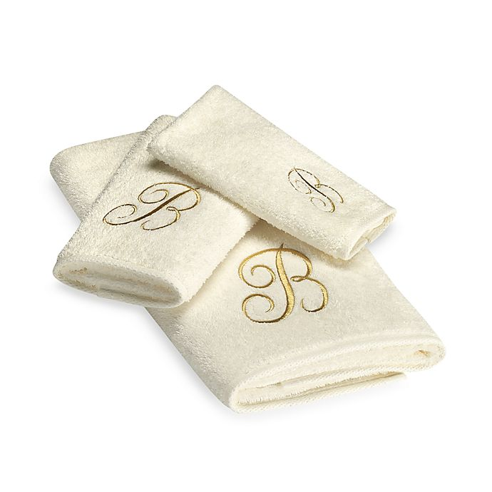 Alternate image 1 for Avanti Premier Gold Script Monogram Hand Towel in Ivory