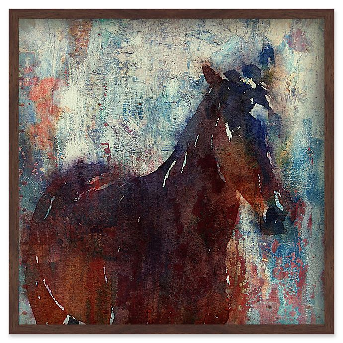 Alternate image 1 for Marmont Hill Wild Brown Horse 24-Inch Square Canvas Wall Art with Shadow Box