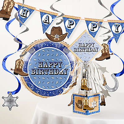 Creative Converting™ Bandana Cowboy Birthday Party Supplies Kit in Blue