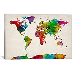 """iCanvas """"Watercolor Map of the World III"""" 26-Inch x 18-Inch Canvas Wall Art"""