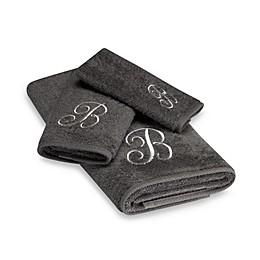 Avanti Premier Silver Script Monogram Bath Towel Collection in Granite