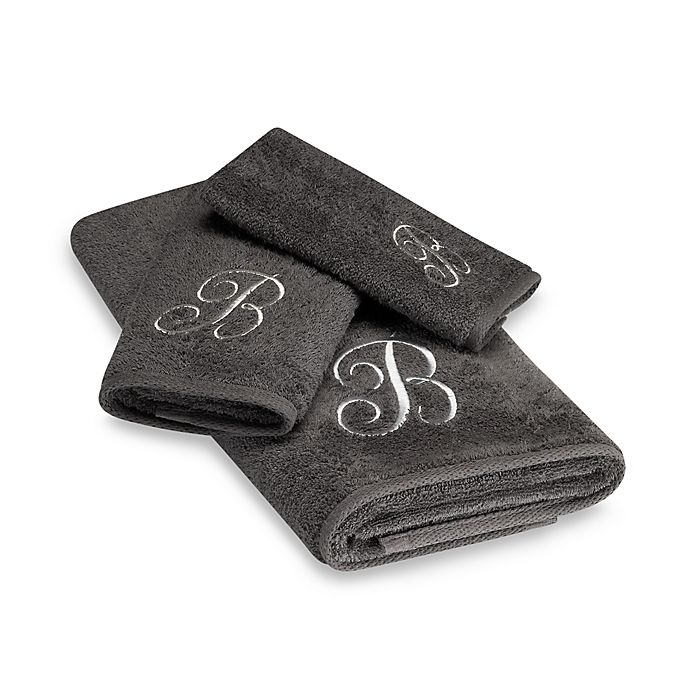 Alternate image 1 for Avanti Premier Silver Script Monogram Bath Towel in Granite