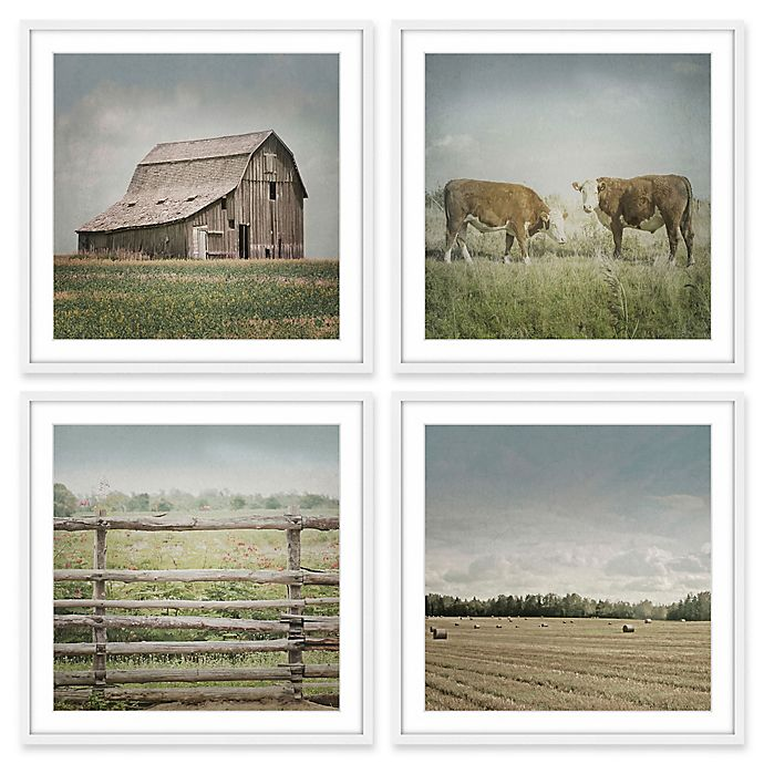 Alternate image 1 for Marmont Hill Out with the Cows Quadriptych 96-Inch sq. Wall Art