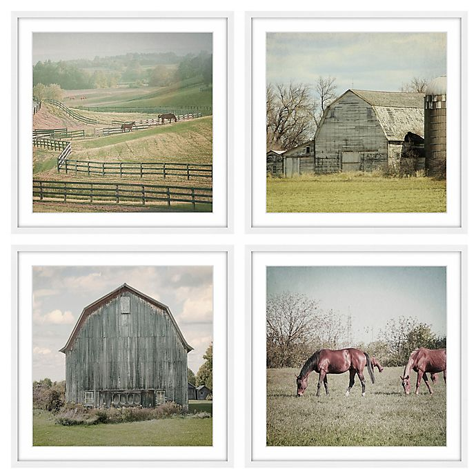 Alternate image 1 for Marmont Hill Out with the Horses Quadriptych 96-Inch sq. Wall Art