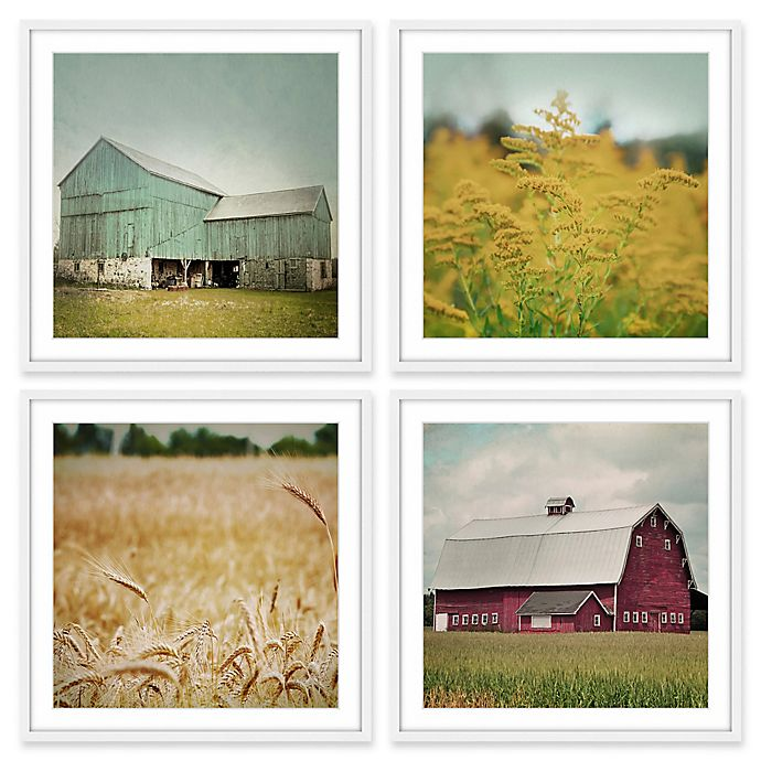 Alternate image 1 for Marmont Hill Farm Perspective 96-Inch sq. Framed Wall Art (Set of 4)