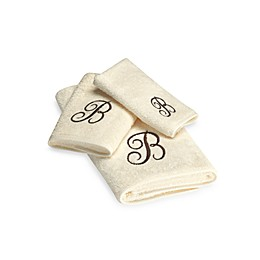 Avanti Premier Brown Script Monogram Bath Towel Collection in Ivory