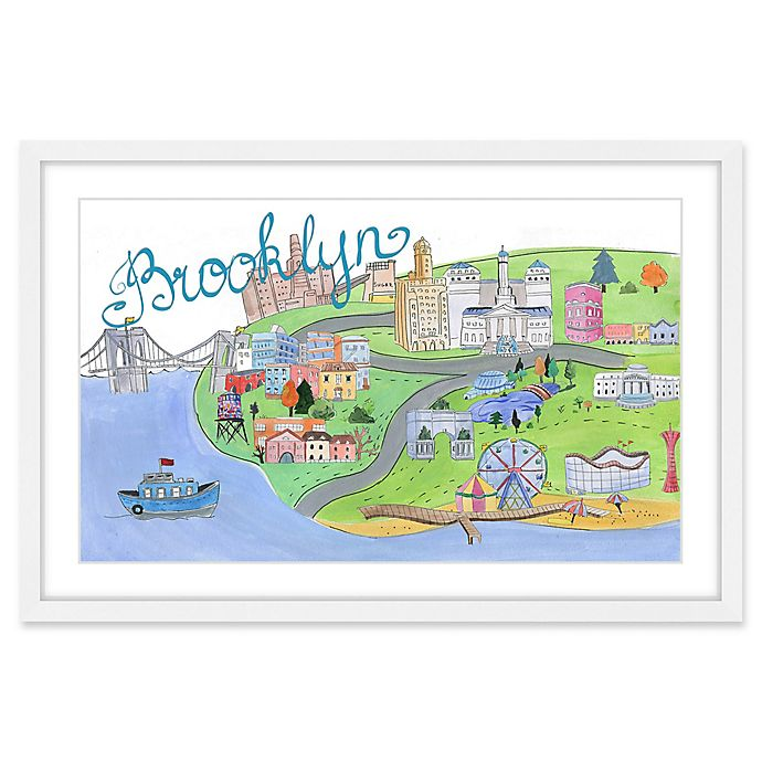 Alternate image 1 for Marmont Hill Brooklyn by Boat 24-Inch x 16-Inch Framed Wall Art