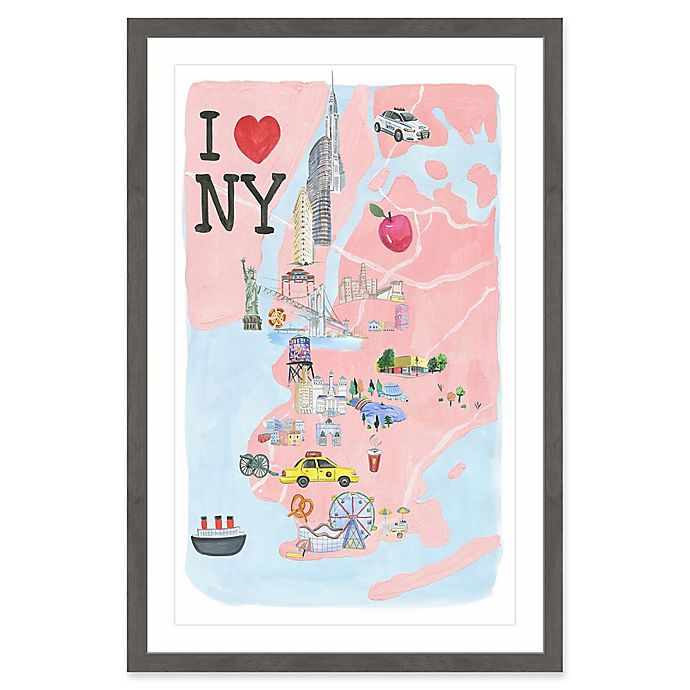 Alternate image 1 for Marmont Hill I Love NY Site Map 20-Inch x 30-Inch Framed Wall Art