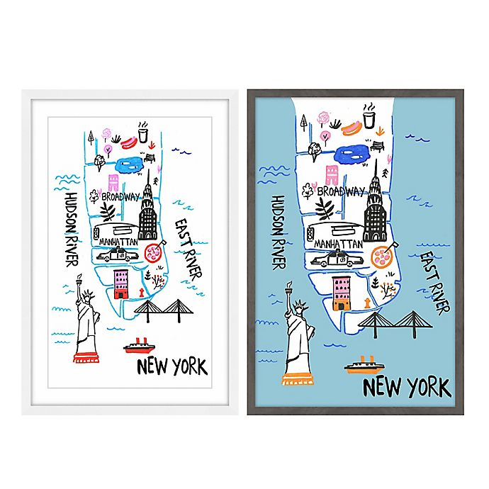 Alternate image 1 for Marmont Hill NY by Car and Boat 16-Inch x 24-Inch Framed Print in White