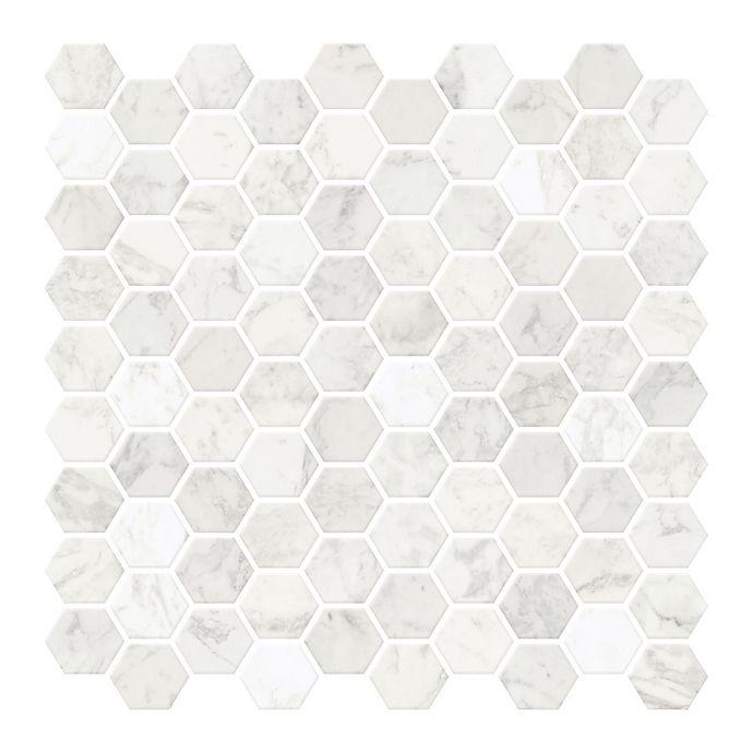 Alternate image 1 for Hexagon Marble Peel-and-Stick Backsplash Tiles in White