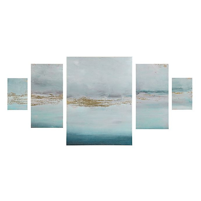 Alternate image 1 for Madison Park Glistening Gold Marble 5-Panel Canvas Wall Art