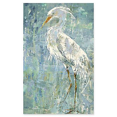 """White Heron"" Canvas Wall Art"