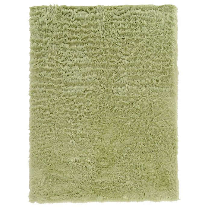Alternate image 1 for Linon Home Faux Sheepskin 1-Foot 8-Inch x 2-Foot 6-Inch Accent Rug in Green