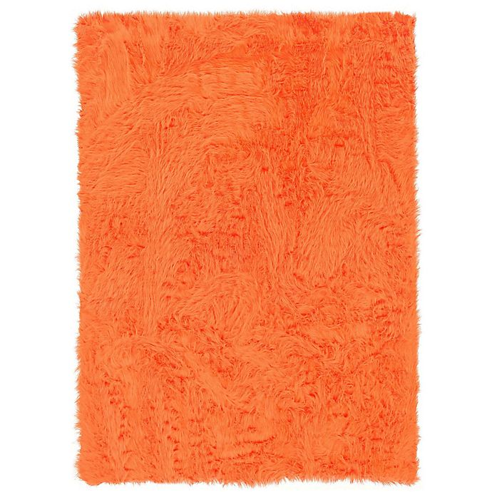 Alternate image 1 for Linon Home Faux Sheepskin 1-Foot 8-Inch x 2-Foot 6-Inch Accent Rug in Orange