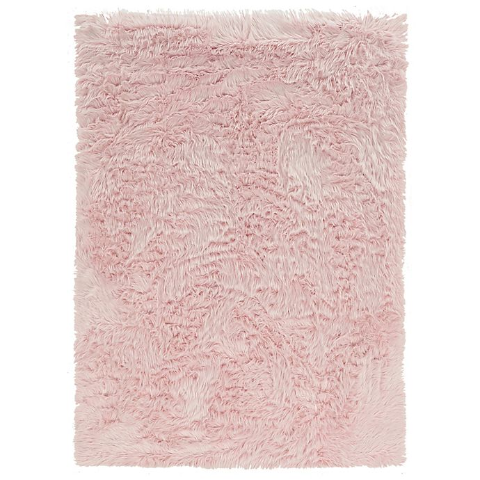 Alternate image 1 for Linon Home Faux Sheepskin 3-Foot x 5-Foot Area Rug in Pink
