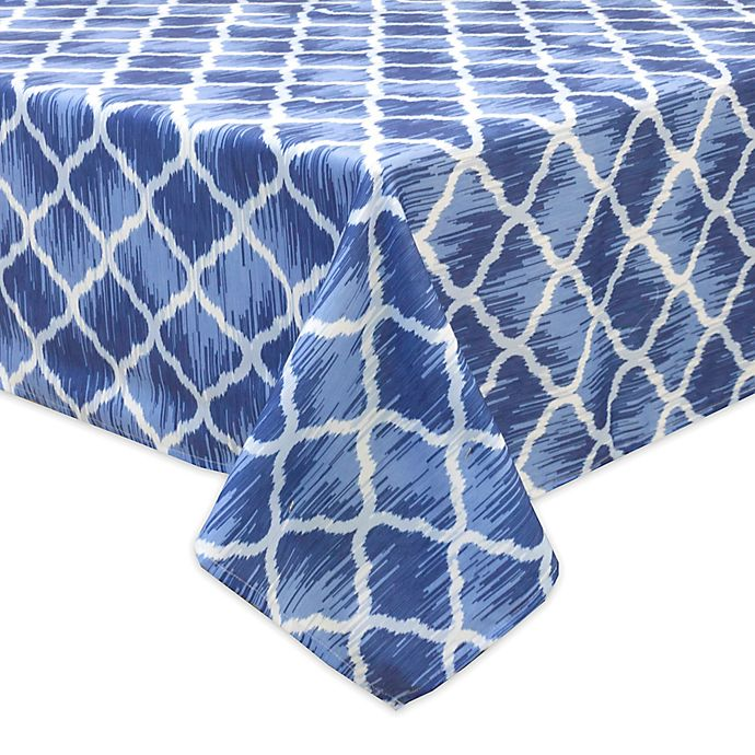 Alternate image 1 for Bardwil Linens Indigo Trellis Indoor/Outdoor Tablecloth