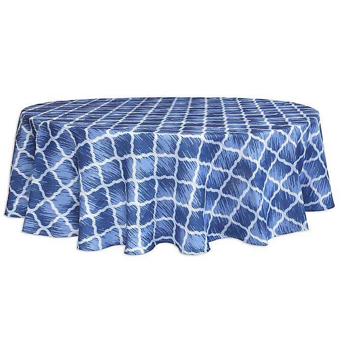 Alternate image 1 for Bardwil Linens Indigo Trellis 60-Inch Round Tablecloth