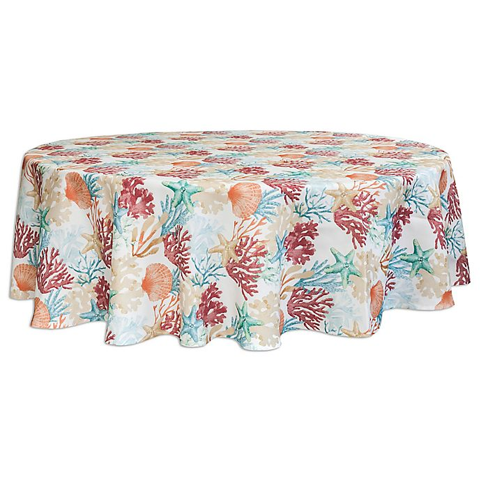 Alternate image 1 for Bardwil Linens Coral Oasis 70-Inch Round Tablecloth with Umbrella Hole
