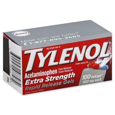 Tylenol 174 Extra Strength 100 Count 500 Mg Pain Reliever Fever Rapid Release Reducer Gelcaps Bed Bath Amp Beyond