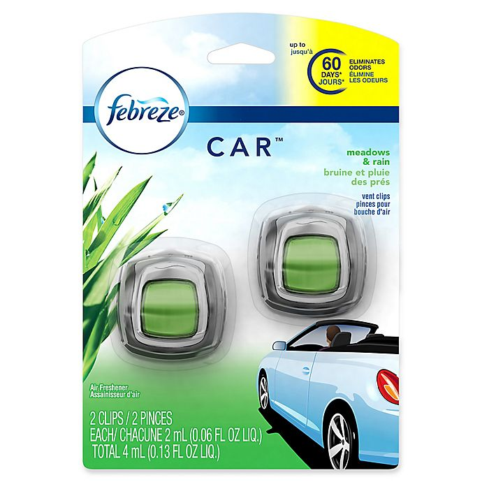 Alternate image 1 for Febreze® CAR™ 2-Count .06 fl. oz. Meadows & Rain Vent Clip Air Freshener