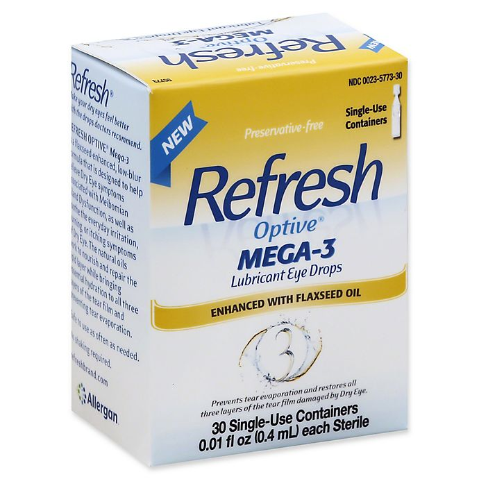 Alternate image 1 for Refresh Optive® 30-Count Mega-3 Lubricant Eye Drops .01 fl. oz. Single-Use Containers