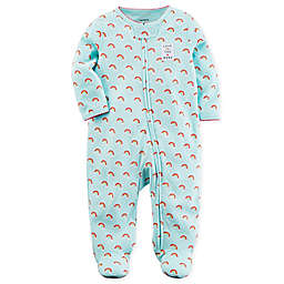 carter's® Rainbow Sleep and Play Zip-Up Footie in Aqua