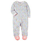 carter's® Size 3M Snap-Up Sleep & Play Floral Footie in White
