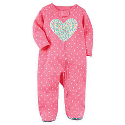 carter's® Heart Sleep and Play Zip-Up Footie in Pink