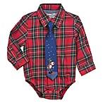 Sovereign Code® Size 3-6M 2-Piece Christmas Plaid Bodysuit and Tie Set