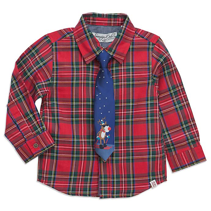 sovereign code 2 piece christmas plaid shirt and tie set - Christmas Plaid Shirt