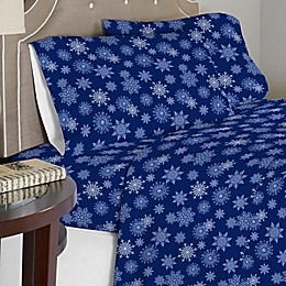 Pointehaven 175 GSM Snowflakes Flannel Twin XL Sheet Set in Blue/White