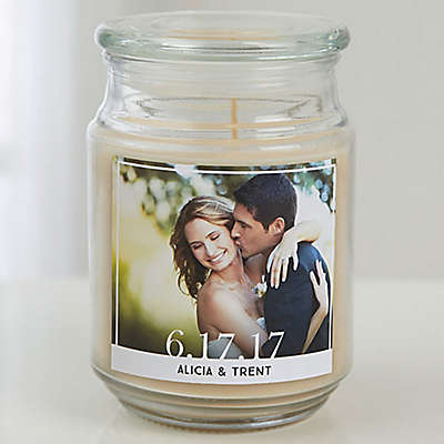 Our Wedding Photo Scented Glass Candle Jar