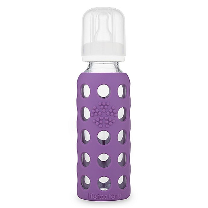 Alternate image 1 for Lifefactory® 9 oz. Glass Baby Bottle with Protective Silicone Sleeve in Grape