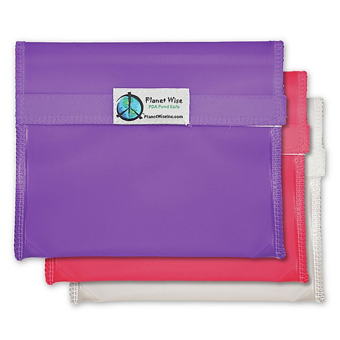 Alternate image 1 for Planet Wise™ Reusable Sandwich Bags in Pink/Purple (Set of 3)