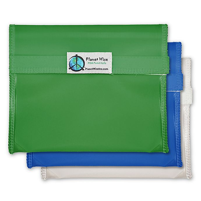 Alternate image 1 for Planet Wise™ Reusable Sandwich Bags in Blue/Green (Set of 3)