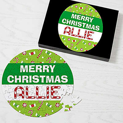 68-Piece Merry Christmas Puzzle in Green