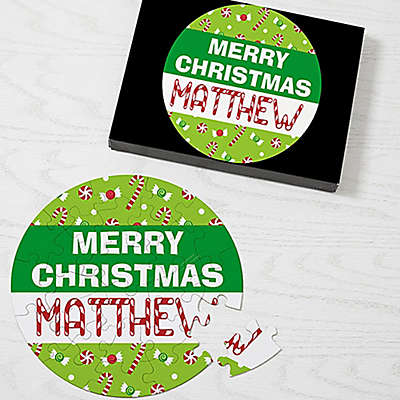 26-Piece Merry Christmas Puzzle in Green