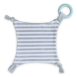 Teething Armour 12-Inch Square Teething Blanket in Grey/White Stripe