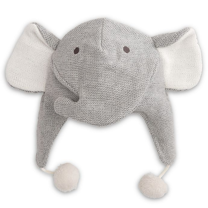 Alternate image 1 for Elegant Baby® Size 0-12M Elephant Aviator Hat in Grey