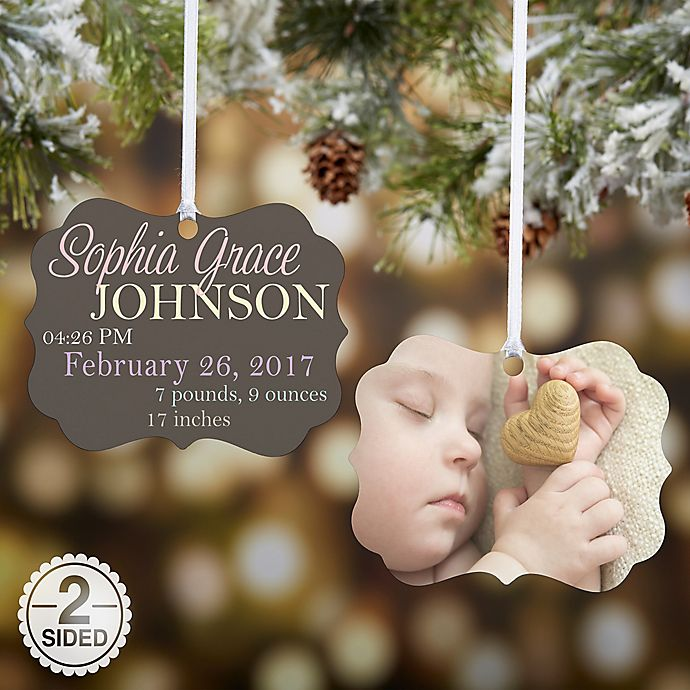 Alternate image 1 for Baby Photo Announcement 2-Sided Ornament