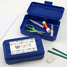 Stencil Name Pencil Box in Blue