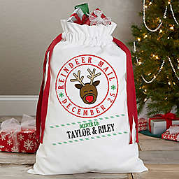 """Reindeer Mail"" Canvas Drawstring Santa Sack"