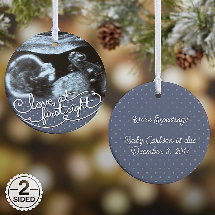 Alternate image 1 for Our Sonogram 2-Sided Glossy Photo Christmas Ornament