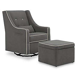 Davinci Owen Glider and Storage Ottoman in Dark Grey/Cream