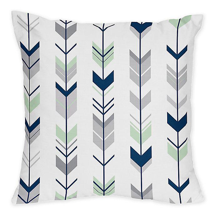 Alternate image 1 for Sweet Jojo Designs Mod Arrow Print Throw Pillows in Grey/Mint (Set of 2)