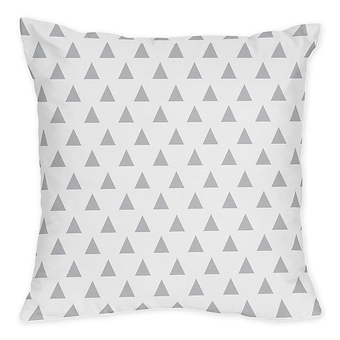 Alternate image 1 for Sweet Jojo Designs Mod Arrow Triangle Print Throw Pillows in Grey/White (Set of 2)